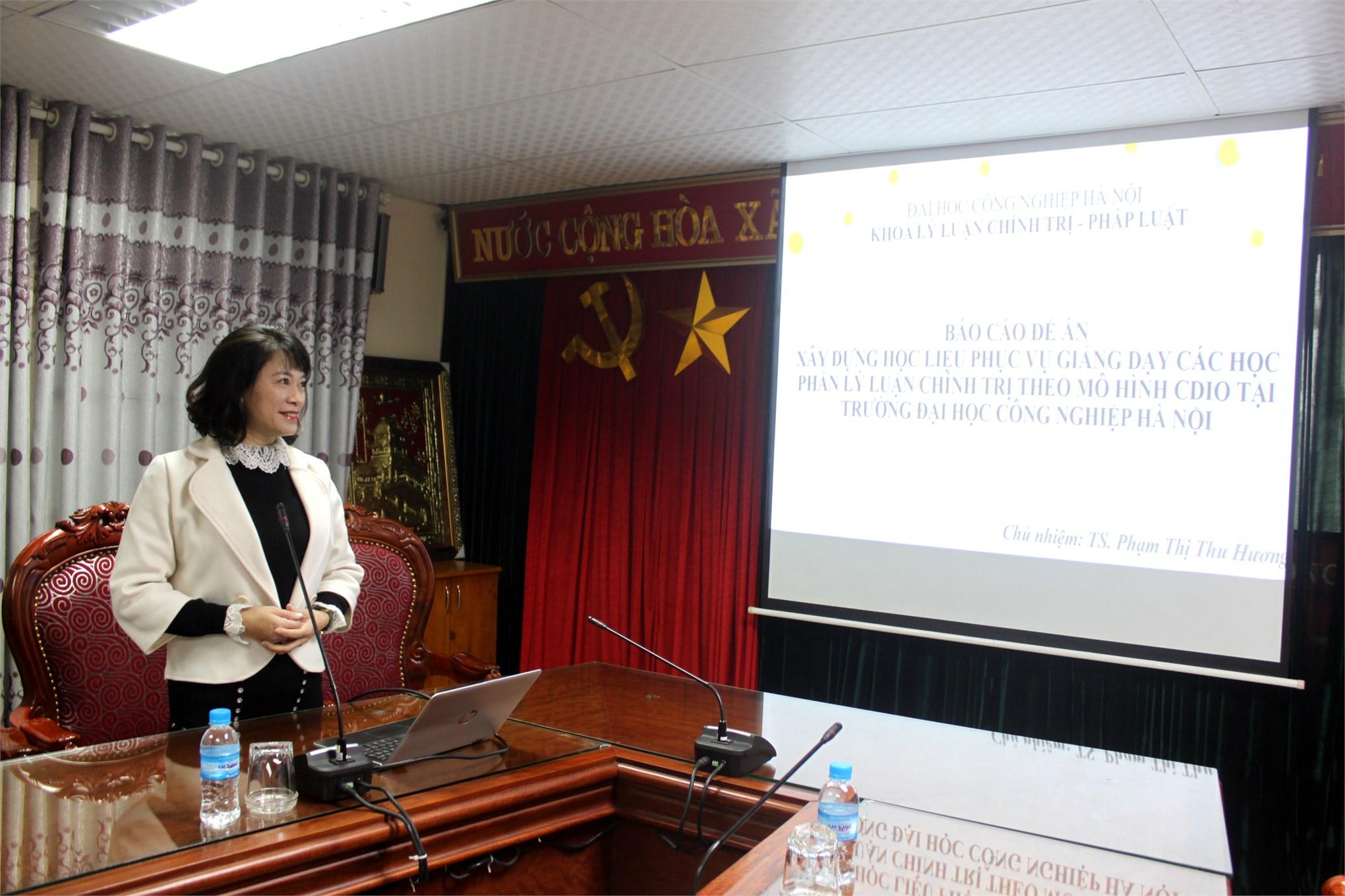 """Nghiệm thu đề án KHCN cấp trường: """"Xây dựng học liệu phục vụ giảng dạy các học phần Lý luận chính trị theo mô hình CDIO tại Trường Đại học Công nghiệp Hà Nội"""""""